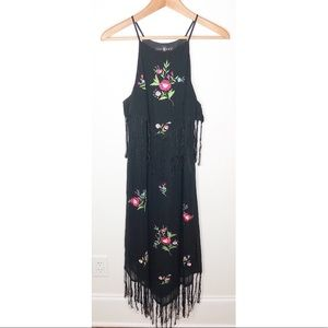 Sue Wong Floral Embroidered Tassel Silk Dress